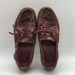 Sperry Top Sider Leather Shoes Dark Brown Purple